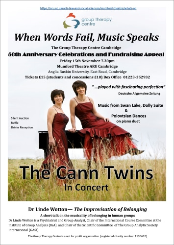the Cann Twins in Concert prom flyer by www.grouptherapycambridge.org.uk
